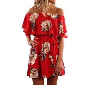 Floral Print Off the Shoulder Ruffle Chiffon Dress
